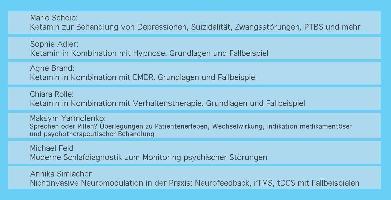 Ketamin – Psychotherapie – Neuromodulation: Synergien und neue Therapiekonzepte bei der Behan